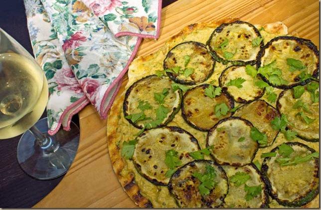 Grilled Zucchini Hummus Pizza