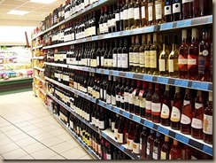 wine in supermarket