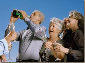 old people drinking wine