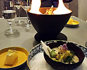 ... By A Panasia Dish With Thai And Japanese Inflections A Coconut Broth  Surrounds A Simple Piece Of Black Bass And Mussels With Cuisine Origin  Alinea