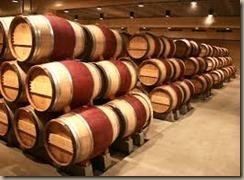 oak barrels in storage