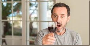 ecstatic wine drinker