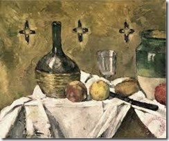 cezanne painting of wine bottle