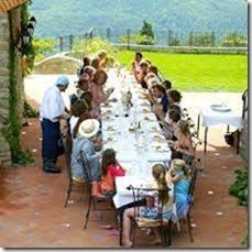 traditional farm family dinner